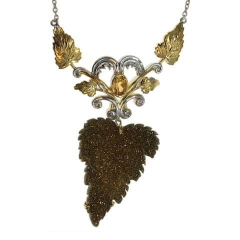 Michael Valitutti Palladium Silver Hand-Carved Golden Drusy Leaf & Citrine Necklace