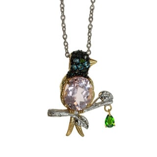 Michael Valitutti Kunzite 'Bird' Pendant with Topaz and Chrome Diopside