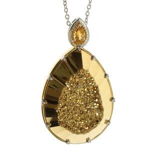 Michael Valitutti Palladium Silver Pear Gold Druzy Pendant