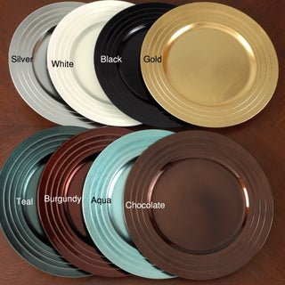 Pleated Design Charger Plates (Set of 4) (Option: Teal)