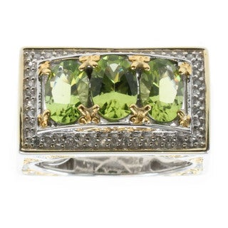 Michael Valitutti Palladium Silver Arizona Peridot And White Zircon Ring