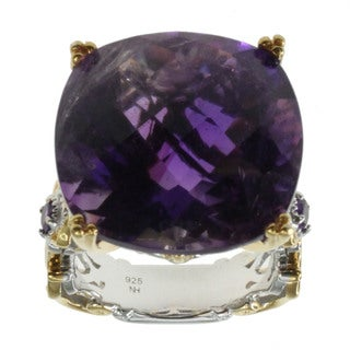 Michael Valitutti Palladium Silver Cushion African Amethyst Ring