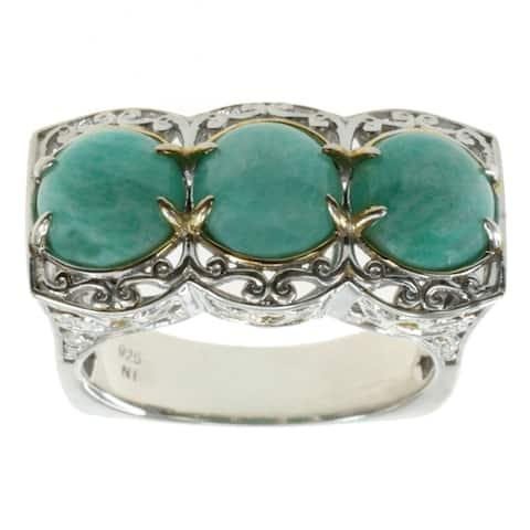 Michael Valitutti Palladium Silver Virginia Amazonite Ring
