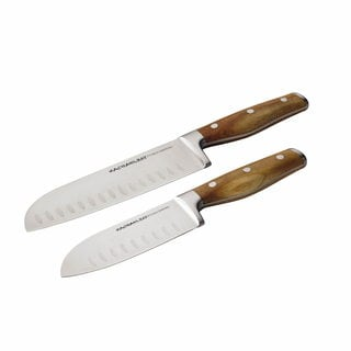 Rachael Ray Cucina Cutlery 2-Piece Japanese Stainless Steel Santoku Knife Set with Acacia Handles