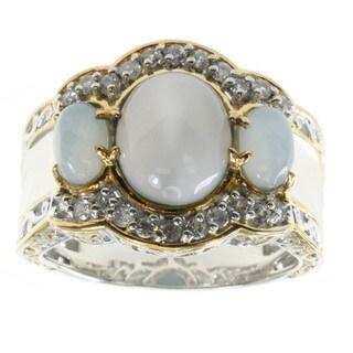 Michael Valitutti Oregon Blue Opal And White Zircon Ring