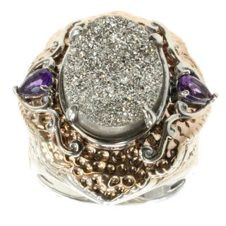 Michael Valitutti Silver Druzy And African Amethyst Ring