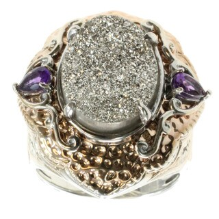 Michael Valitutti Silver Druzy And African Amethyst Ring (2 options available)