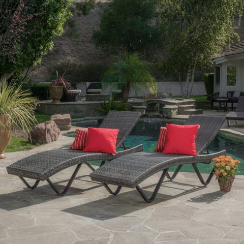 San Marco Outdoor Wicker Chaise Lounge (Set of 2) by Christopher Knight Home