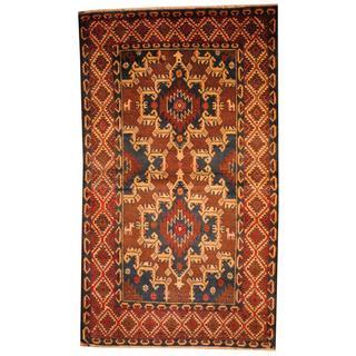 Herat Oriental Semi-antique Afghan Hand-knotted Tribal Balouchi Navy/ Beige Wool Rug (3' x 5'1)