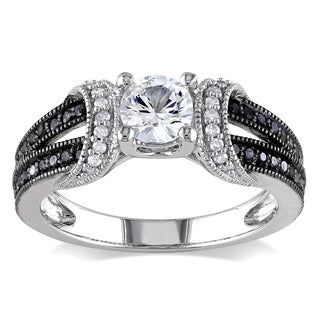 Miadora Sterling Silver Created White Sapphire and 1/4ct TDW Black and White Diamond Split Shank Engagement Ring (G-H, I2-I3)