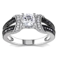 Miadora Sterling Silver Created White Sapphire and 1/4ct TDW Black and White Diamond Split Shank Eng