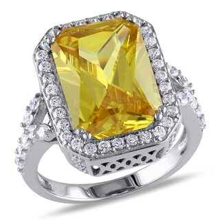 Miadora Sterling Silver Yellow Cubic Zirconia Engagement Ring