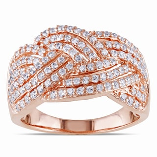 Miadora Rose Plated Silver Cubic Zirconia Ring