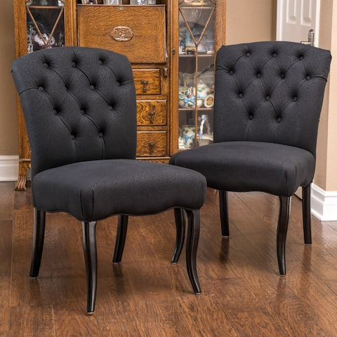 Hallie Patterned Black Dining Chairs (Set of 2) by Christopher Knight Home