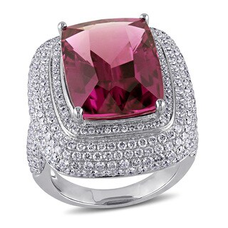 Miadora Signature Collection 14k White Gold Pink Tourmaline and 2 3/4ct TDW Diamond Ring (G-H, SI1-S