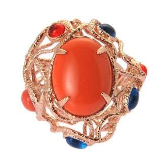 De Buman 18k Rose Gold Plated Red Coral Crystal Ring