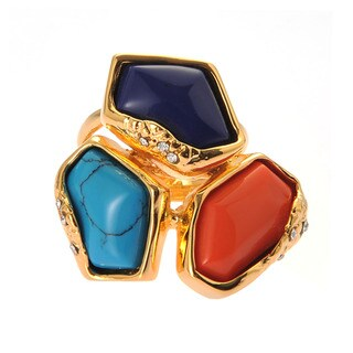 De Buman 18k Yellow Gold Plated Red Coral, Turquoise and Lapis Ring