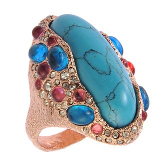 De Buman Rose Gold Plated Turquoise Crystal Ring