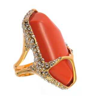 De Buman 18k Yellow Gold Plated Red Coral Crystal Ring