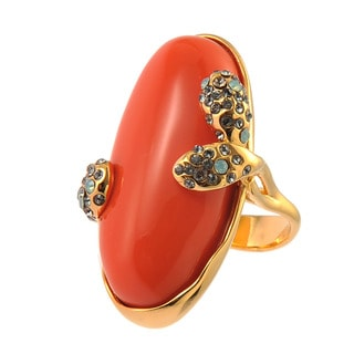 De Buman Yellow Gold Plated Red Coral Pacific Opal Ring