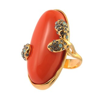 De Buman 18k Yellow Gold Plated Red Coral Pacific Opal Ring