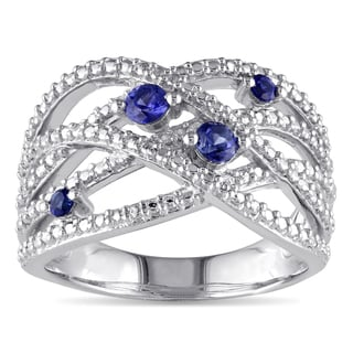Miadora Sterling Silver Created Sapphire Fashion Ring