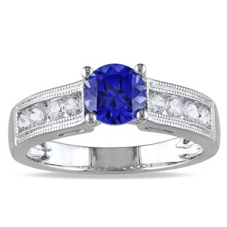 Miadora Sterling Silver Created Sapphire Engagement Ring