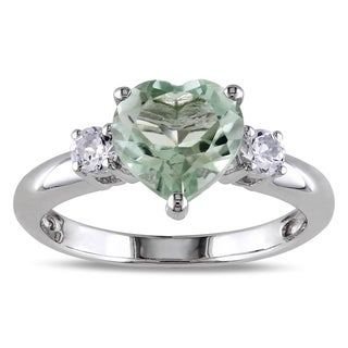 Miadora Sterling Silver Green Amethyst and Created White Sapphire Heart Ring