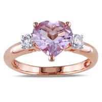 Miadora Rose Plated Silver Rose de France and Created White Sapphire Heart Ring