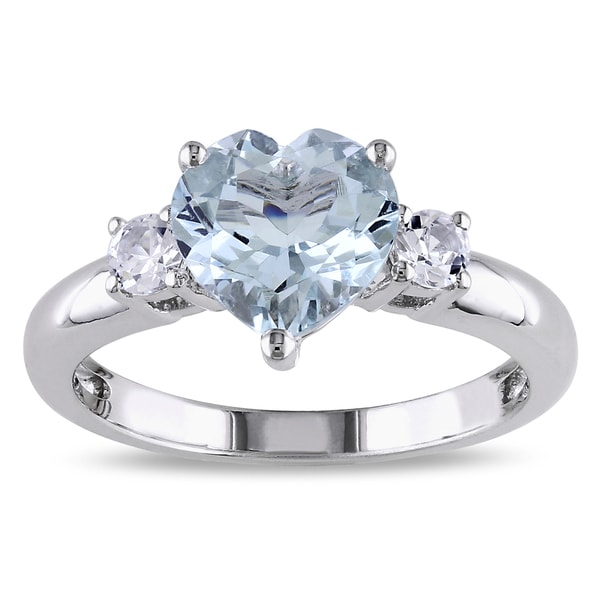 Miadora Sterling Silver Aquamarie and Created White Sapphire Heart Ring