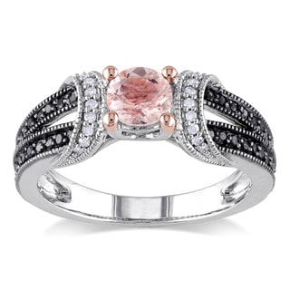 Miadora Sterling Silver Morganite and 1 4ct TDW Black and White Diamond Split Shank Engagement Ring