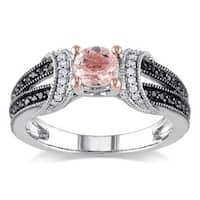 Miadora Sterling Silver Morganite and 1/4ct TDW Black and White Diamond Split Shank Engagement Ring