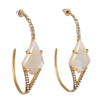 De Buman 18k Yellow Gold Plated Mother of Pearl and White Czech or 18k Rose Gold Plated Turquoise and White Czech Hoop Earrings