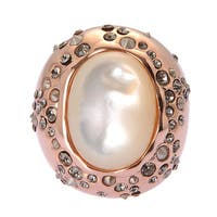 De Buman Rose Gold Plated Mother Of Pearl Ring