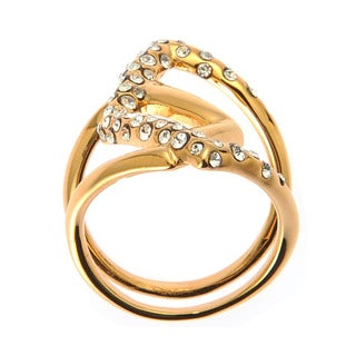 De Buman 18k Yellow Gold Plated White Czech Ring