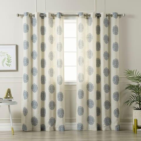"Aurora Home Medallion Printed Linen Blend Grommet Top 84-inch Curtain Panel Pair - 52""W x 84""L - 52""W x 84""L"