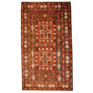 Herat Oriental Afghan Hand-knotted 1950s Semi-antique Tribal Balouchi Wool Rug (2'9 x 4'9)
