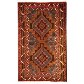 Herat Oriental Semi-antique Afghan Hand-knotted Tribal Balouchi Blue/ Rust Wool Rug (2'10 x 4'8)