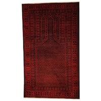 Handmade Herat Oriental Semi-antique Afghan Tribal Balouchi Navy/ Red Wool Rug (Afghanistan) - 2'9 x 4'8