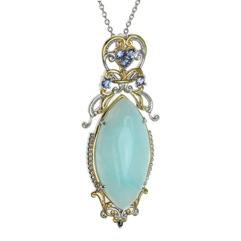Michael Valitutti Hemimorphite With Tanzanite And Sapphire Accents Pendant