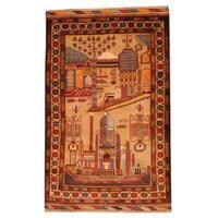 Handmade Herat Oriental Semi-antique Afghan Tribal Balouchi Beige/ Ivory Wool Rug - 2'9 x 4'5 (Afghanistan)