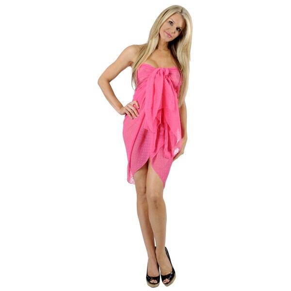 La Leela Designer Swim Super Lightweight sheer Chiffon Sarong 72X42 Inch Pink