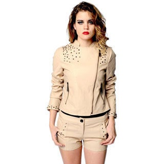 Sara Boo Beige Faux Leather Moto Stud Jacket