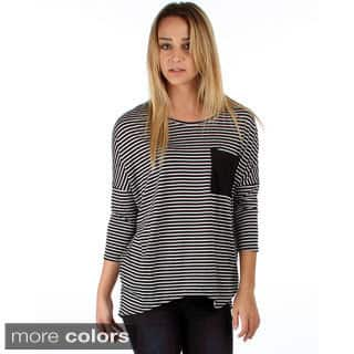 Lyss Loo Striped Dolman with Pocket|https://ak1.ostkcdn.com/images/products/9726278/P16900043.jpg?impolicy=medium