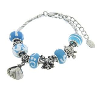 Eternally Haute Under the Sea Aqua Glass and Seashell Charm Bracelet