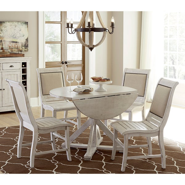 Willow distressed white round dining table free shipping for Distressed white dining table