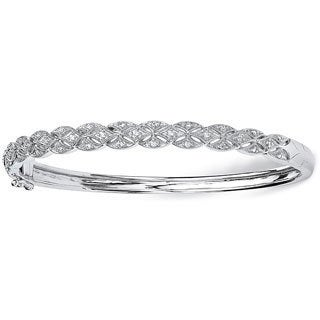 PalmBeach 1/4 TCW Round Diamond Decorative Bangle Bracelet in Platinum over Sterling Silver