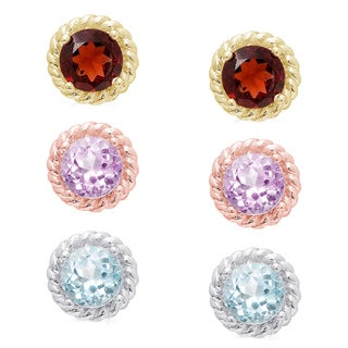 Dolce Giavonna Gold Over Sterling Silver Gemstone Stud Earrings (Set of 3)