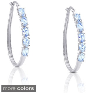 Dolce Giavonna Simulated Topaz Hoop Earrings