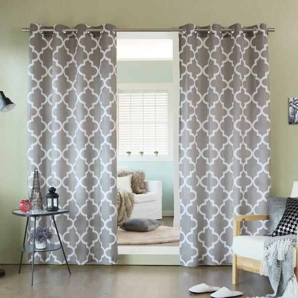 aurora home velvet moroccan print grommet top 84 inch curtain panel